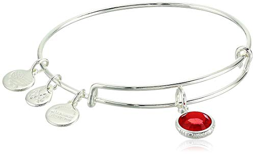 Alex and Ani Women's Swarovski Color Code Bangle July Light Siam Bracelet, Shiny Silver, Expandable