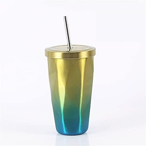 RZHIXR Taza De Vino con Forma De Diamante De 16 oz, Taza De Piña De Acero Inoxidable 304, Taza De Café Aislada Al Vacío con Taza De Paja De Color Degradado con Tapa