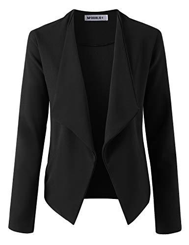 Doublju Women#039s Stretch Open Front Long Sleeve Blazer Jacket with Plus Size Black XLarge