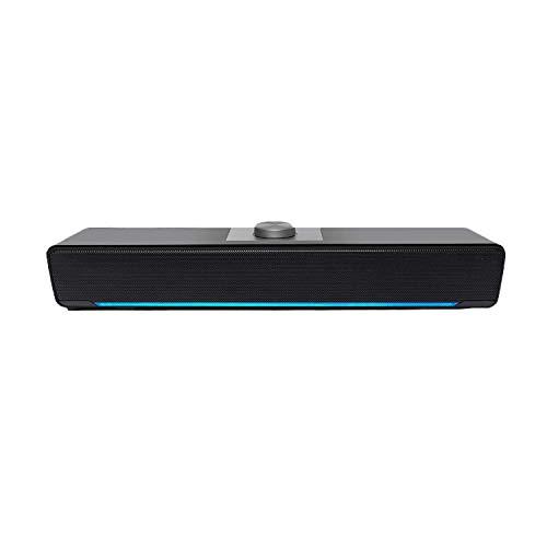 Computerlautsprecher, Kabelgebundene Soundbar 2.0 USB-LED-Lautsprecher mit Leistungsstarker Stereoanlage, 3,5-mm-Buchse, Lautstärkeregler für PC, Desktop, Laptop, Schwarz