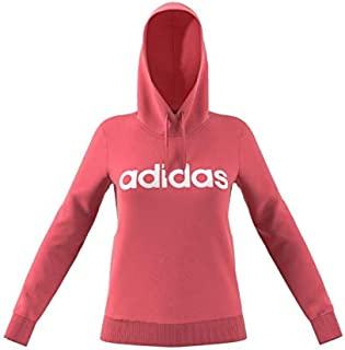 adidas Women's Essentials Linear Over Head Hoodie Sweatshirts, Pink (Bliss Pink/white), Small, 8-10