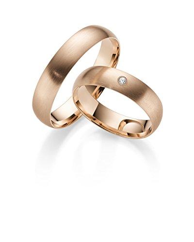 333 GOLD Rotgold Trauringe Paarpreis - Rubin Juwelier- inkl Gravur und Stein Matt