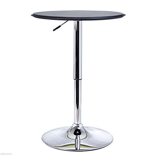 HOMCOM Modern Bar Table Home Pub Round Black Covered Wooden Top Adjustment Height