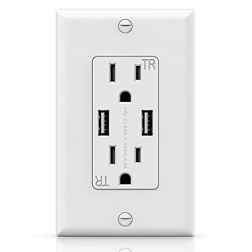 Wall USB Outlet Receptacle, KING-LINK Fast USB Charge Adapter Receptacle with 4.8A USB Charging Ports for iPhone, iPad, LG, and more Smartphone, 15A Receptacle Outlet with Wall Plate (White 1 Pack)