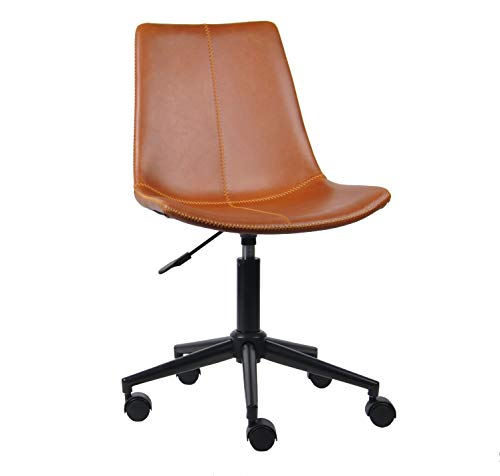 ASPECT Lombardi Padded Office Chair,Tan Faux Leather Seat and Black Base, W47xD37xH82-93cm