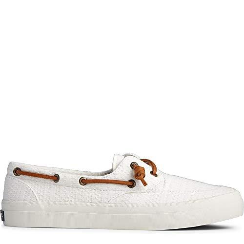 Sperry Women's Crest Boat Sneaker, White Smocked, 5.5 Medium