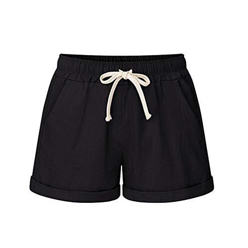 WOZOW Shorts Kurze Hose Summer Damen Solid High Waist Kordelzug Zug Tie Übergröße Plus Size Elastisch Elastic A Line Lose Loose Bequem Casual Mini Trousers with Taschen (2XL,Schwarz)