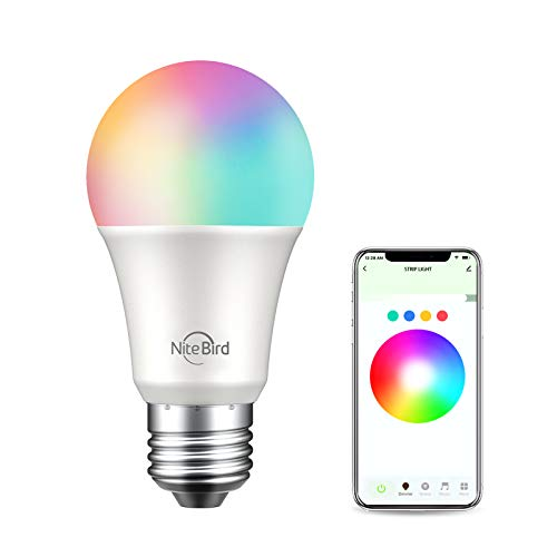 NiteBird LED Light Bulbs Dimmable,Smart LED RGBW Color Changing WiFi Bulb,Compatible with Alexa and Google Home Assistant, No Hub Required, A19 E26 Multicolor 1 Pack
