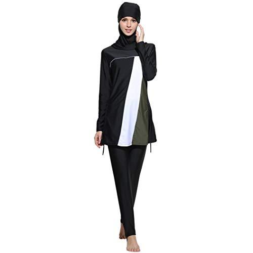Lannister Muslim Bademode Fmuslim Bademode Beachwear Frauen Islamische Kleidung Schwimmen Badeanzug Festlich Bekleidung Für Mädchen Hijab (Color : Schwarz, Size : M)