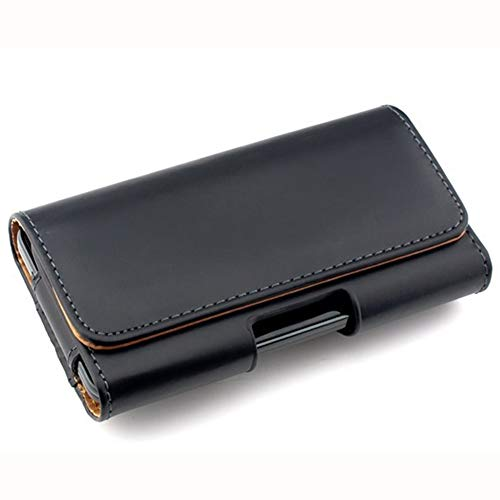 Negro Funda Horizontal Movil Cinturon para iPhone Xs Max Xr 8 Plus Xiaomi Redmi Note 7 Pro MI A3 Ulefone P6000 Plus Samsung Galaxy M20 M30s Carcasa con Clip de cinturón Cover de Cuero Sintético
