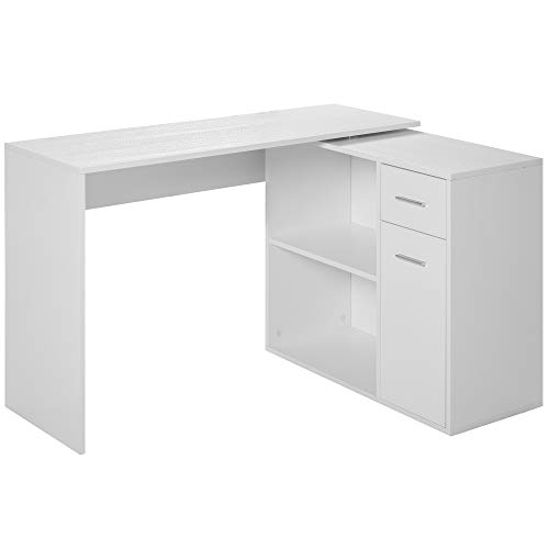 HOMCOM L Shaped Corner Computer Desk Workstation with Rotating Storage Shelves and Drawer for Home & Office, White