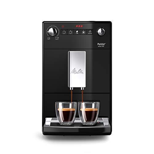 Melitta Purista F 230-102 Kaffeevollautomat mit flüsterleisem Kegelmahlwerk (Direktwahltaste, 2-Tassen Funktion, 20 cm Breite, entnehmbare Brühgruppe) schwarz