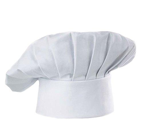 Ruikey Sombrero de Chef para niños Blanco Ajustable Panadero elástico Cocina Cocinero pastelero Sombrero para
