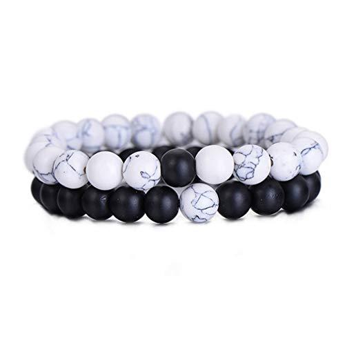 #N/A Rlmobes - Pulsera para parejas, color negro y blanco mate, cuentas de ágata y pulsera de amistad, color blanco y negro