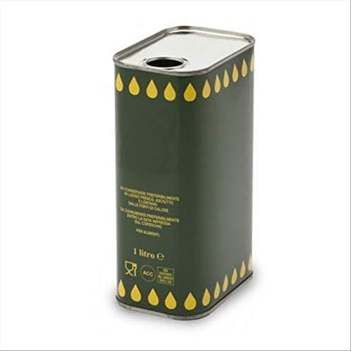 Lattina per olio in banda stagnata, capacità 1 Lt, colore verde con gocce gialle