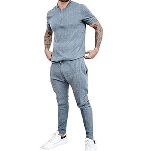 Hombre 2 Piezas Conjuntos Deportivos Mangas Cortas T-Shirt Casual Pantalones Ropa De Golf