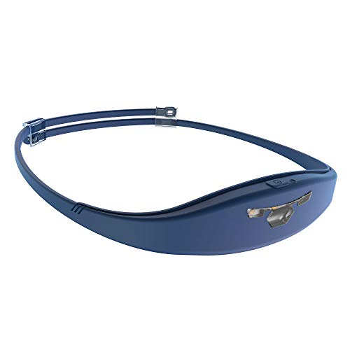 Running Headlamp,Headlamp Flashlight 130 lumen,USB Rechargeable Head Light, IP67 Waterproof,Ultralight,Silicone Sweatband Built in,UNCLELIGHT Irun,for Trail Running,Dog walking,Camping,Reading (Blue)