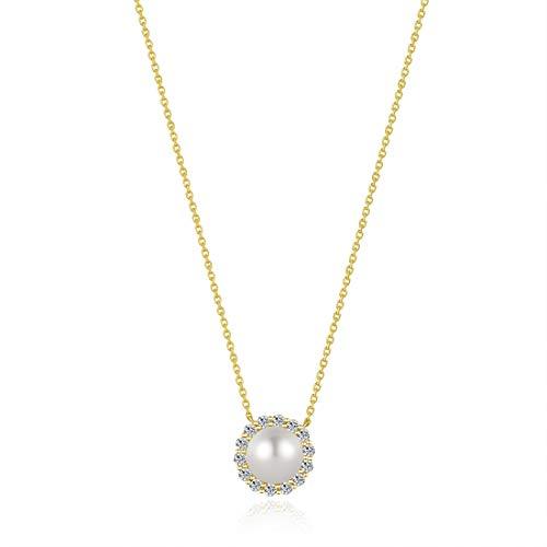 CARLEEN Perla Natural 8mm-Diámetro Colgante Collares de Oro Amarillo 14 Quilates (585) Regalo Joyería para Mujer - Longitud Cadena: 40 + 5 cm