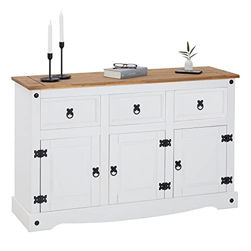 IDIMEX Buffet Campo Commode bahut vaisselier en pin Massif Blanc et Brun avec 3 tiroirs et 3 Portes, Meuble de Rangement Style Mexicain en Bois dim 125 x 76 x 40 cm