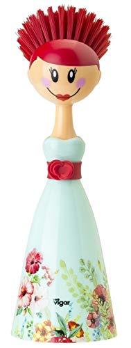Vigar brosses à vaisselle en forme de poupée, rouge et bleu 7,5 x 7,5 x 24,5 cm