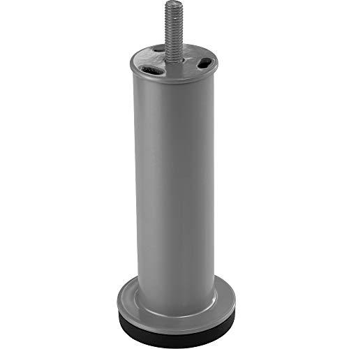 Gedotec Design Möbelfuß verstellbar Schrankfuß rund Gewindefuß - ADRIA | Sofa-Fuß Höhe 130 mm | Sockelfuß mit Gewindestift M8 mm | Möbel-Bein Metall silber matt | 1 Stück - Kommoden-Fuß mit Gewinde