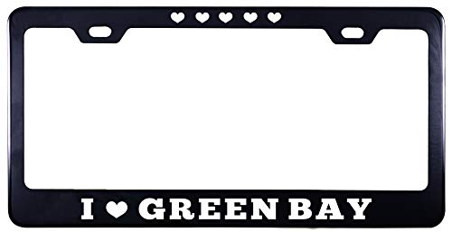 Printtoo Black I Love Green Bay Stainless Steel License Plate Frame 2 Holes Waterproof Vinyl Cut Letters-12 x 6 Inches