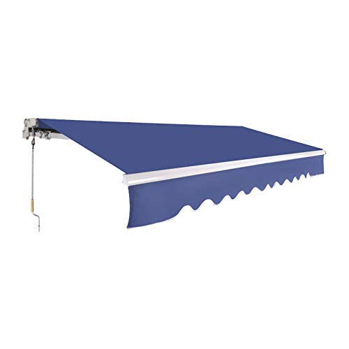 VINGLI 12 x 10 FT Patio Awning Retractable Sunshade Window Door Shelter Awning Cover Canopy Market Deck Awnings with Manual Crank Handle, Blue