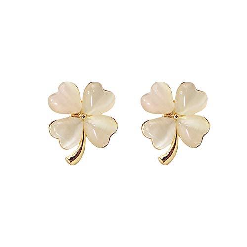 Drop Dangle Earrings Silver Needle Opal Lucky Four Petal Flower Studs Pendant Earrings Jewelry Gifts for Women Girls