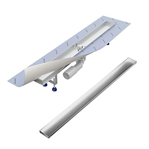 Komplett-SET - Duschrinne 80 cm AQUABAD® SDS Pro aus Edelstahl inkl. Haarsieb, Abgang waagerecht, befliesbare Mulde und Grundkörper-SET