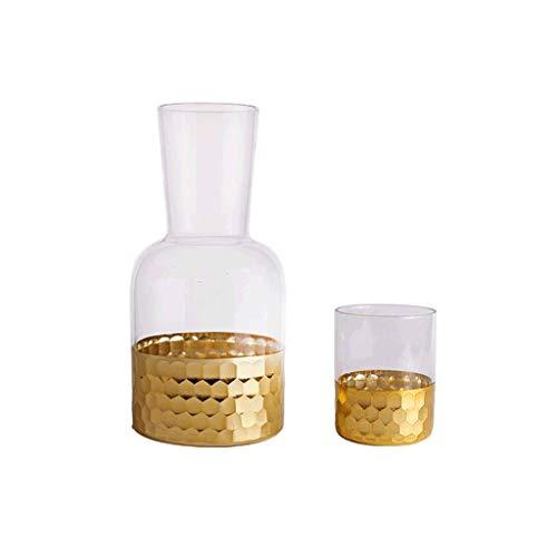Teekannen Perlglanz-EIS, Roségold, Glas-Kaltwasserkocher, hohe Temperaturbeständigkeit, Saftkrug, Wasserbecher-Set, Schlichter (Color : Gold)
