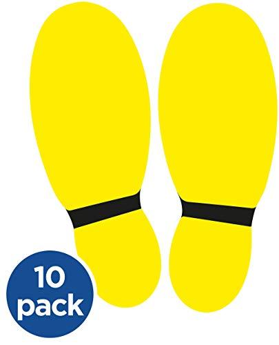 Pacco di adesivi per il distanziamento sociale da pavimento Adesivo per pavimenti. 26x21CM Giallo/nero.