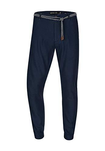 Indicode Herren Blnda Stoffhose aus 55% Leinen & 45% Baumwolle mit 4 Taschen | Lange Regular Fit Hose Herrenhose Sommerhose Leinenhose Baumwollhose mit Kordel-Gürtel für Männer Navy L