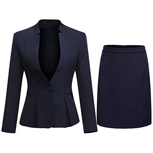 Women's 2 Piece Business Skirt Suit Set Office Lady Slim Fit Blazer and Skirt (Blazer and Skirt-Red, S)