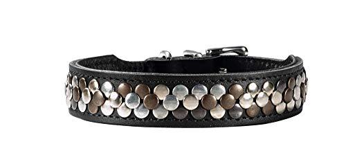 HUNTER ARIZONA Hundehalsband, Leder, mit Nietenbesatz, 32 (XS), schwarz