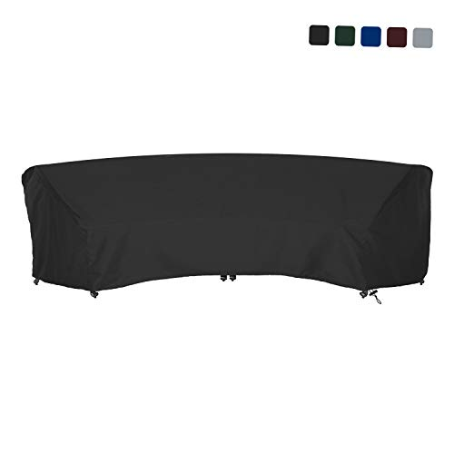 Curved Sofa Cover 18 Oz Waterproof - 100% UV & Weather Resistant Customize Outdoor Sofa Cover with Air Pockets and Drawstring with Snug Fit (120 L x 36 W x 38 H x 82 FL, Black)