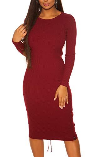 Koucla RIPP Strickkleid Business Deko Schnürung Midi Kleid One Size (Einheitsgröße)