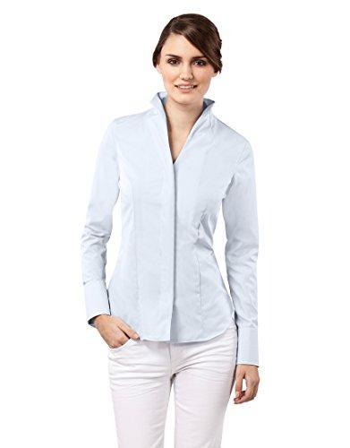 Vincenzo Boretti Damen Bluse mit Kelchkragen tailliert 100% Baumwolle bügelfrei Langarm Hemdbluse mit Stehkragen elegant festlich auch für Business eisblau 36