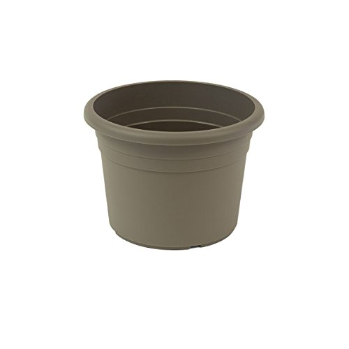 greemotion Pot de fleurs rond en plastique Ø 35cm 12L - Pot pour plantes extérieures et intérieures - Pot de jardin couleur taupe