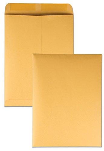 Quality Park 41467 Quality Park Catalog Envelopes, Heavyweight/Gummed, 9x12, 28lb, Kraft, 100/Box