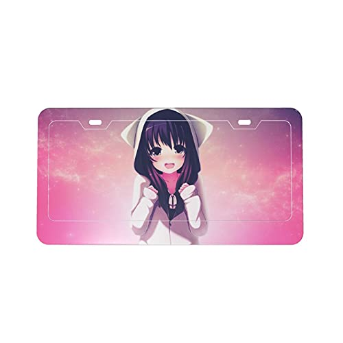 Anime Girl Protection License Plate Car Frame Fashion Personality, Used for Women and Men Car Decoration DIY Custom Patterns