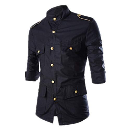 SALEBLOUSE Spring and Autumn New Men's Casual Long-Sleeved Shirt Multi-Pocket Fashion Men's Epaulettes Decorated with Metal Buckles Solid Color Korean Slim Shirt Polo Formal Bussiness Shirts Blouses