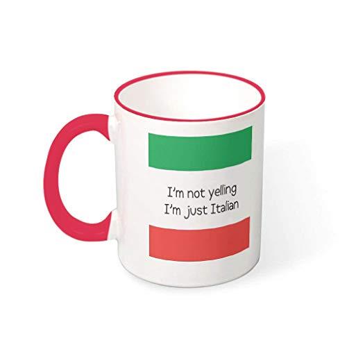 O5KFD&8 11 Unze Ich Schreie Nicht, ich Bin Italiener Becher Tasse Porzellan Personalize Mug - Lustige Sprüche Weihnachten Gegenwart (Beidseitig Bedrucken) mred 330ml