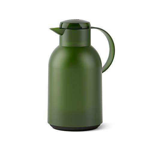 Emsa SAMBA Isolierkanne Quick Press, Kanne, Teekanne, Kaffeekanne, Kaffee, Kunststoff, Transparent-Dunkelgrün, 1.5 L, N4012100