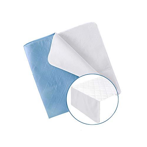UMI. Essentials wasserdichte Saugvlies Matratzenauflage Inkontinenzauflage (70x90cm Quadratisches Muster Weiß)