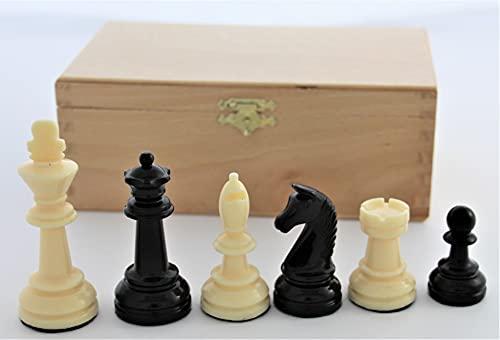 Weiblespiele 01017 - Schachfiguren, Kunststoff 90 mm, in Buchekassette
