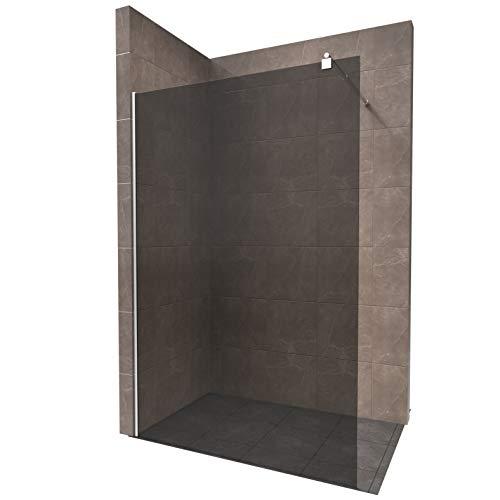 Duschabtrennung Walk In 140 x 200cm, Duschwand, Dusche, 10mm STARK aus GRAUGLAS ESG Sicherheitsglas mit Edelstahl Wandprofilen #740 - Alle Größen