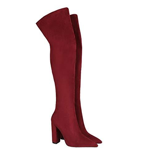 AHIN Damen Stiefel Overknees Hohe Stiefel, Schlanke Stiefel, Sexy Mode Hoch Elastisch Stiefeln,Rot,34