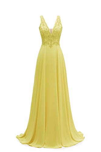 V-Neck Lace Prom Dresses Long A-line Chiffon Beaded Bridesmaid Formal Gowns for Women Yellow Size 14 (Apparel)