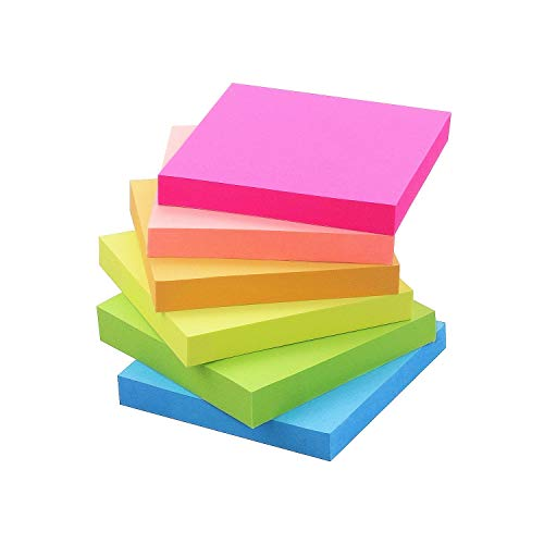Early Buy Sticky Notes 6 Bright Color 6 Pads Self-Stick Notes 3 in x 3 in, 100 Sheets/Pad (Pink)