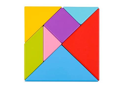 Tooky Toy Puzzle tangram enfant - Forme géométrique en bois - Puzzle enfant - Jouet d'apprentissage pour enfants - Blocs en bois - Jeu enfant
